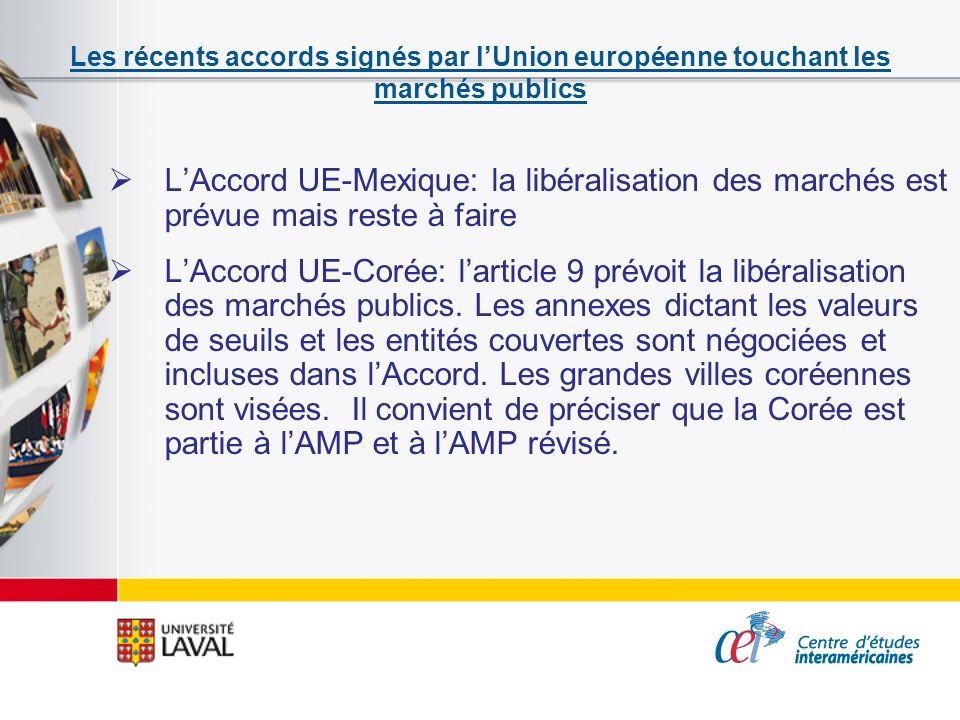 Les récents accords signés par lUnion européenne touchant les marchés publics LAccord UE-Mexique: la libéralisation des marchés est prévue mais reste