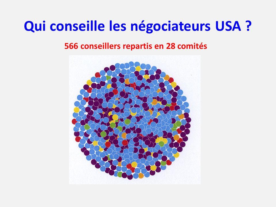 Qui conseille les négociateurs USA ? 566 conseillers repartis en 28 comités