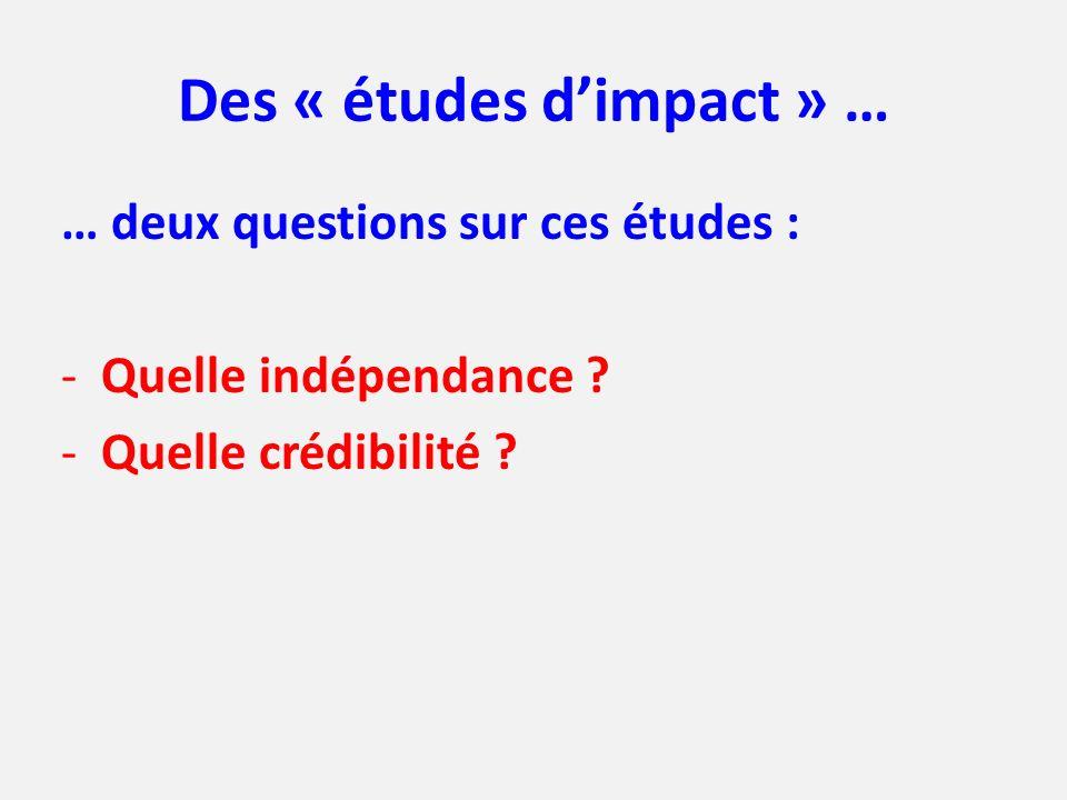 Des « études dimpact » … … deux questions sur ces études : -Quelle indépendance ? -Quelle crédibilité ?