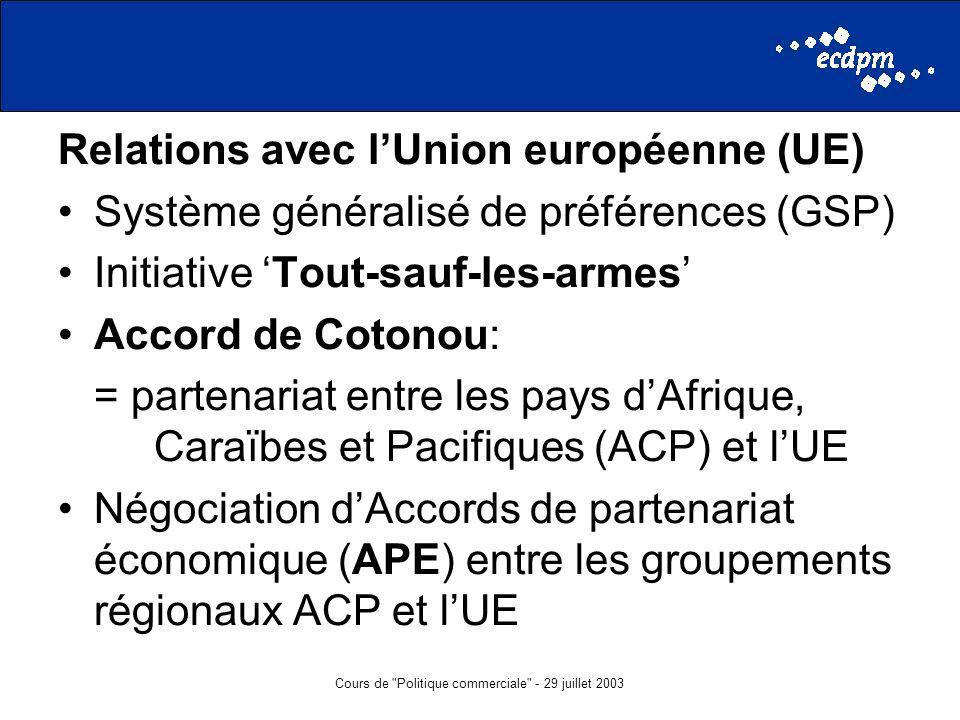 Cours de Politique commerciale - 29 juillet 2003 Relations avec lUnion européenne (UE) Système généralisé de préférences (GSP) Initiative Tout-sauf-les-armes Accord de Cotonou: = partenariat entre les pays dAfrique, Caraïbes et Pacifiques (ACP) et lUE Négociation dAccords de partenariat économique (APE) entre les groupements régionaux ACP et lUE
