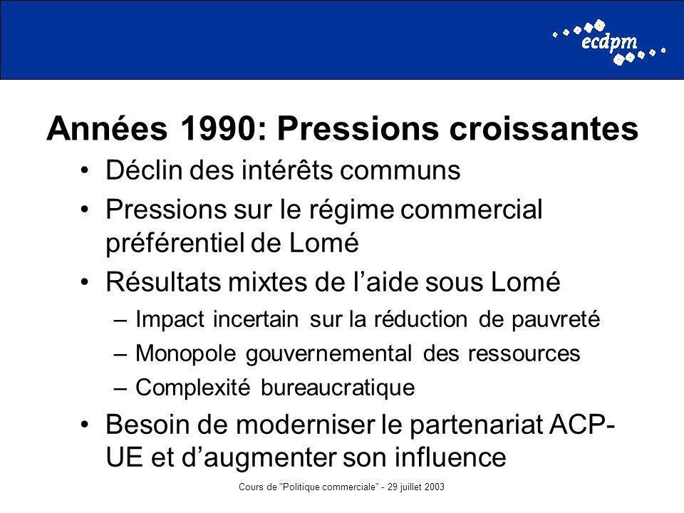 Cours de Politique commerciale - 29 juillet 2003 Années 1990: Pressions croissantes Déclin des intérêts communs Pressions sur le régime commercial préférentiel de Lomé Résultats mixtes de laide sous Lomé –Impact incertain sur la réduction de pauvreté –Monopole gouvernemental des ressources –Complexité bureaucratique Besoin de moderniser le partenariat ACP- UE et daugmenter son influence