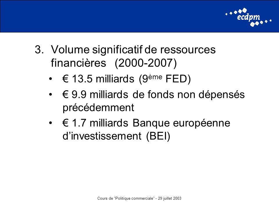 Cours de Politique commerciale - 29 juillet 2003 3.Volume significatif de ressources financières (2000-2007) 13.5 milliards (9 ème FED) 9.9 milliards de fonds non dépensés précédemment 1.7 milliards Banque européenne dinvestissement (BEI)