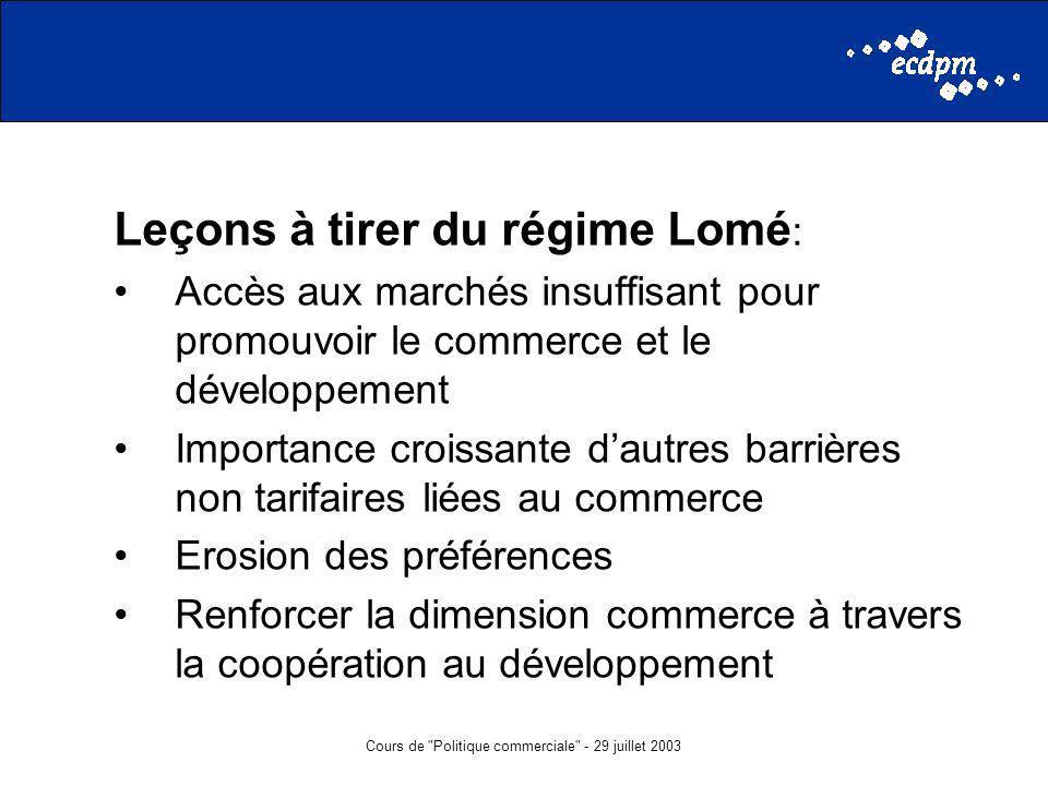 Cours de Politique commerciale - 29 juillet 2003 Leçons à tirer du régime Lomé : Accès aux marchés insuffisant pour promouvoir le commerce et le développement Importance croissante dautres barrières non tarifaires liées au commerce Erosion des préférences Renforcer la dimension commerce à travers la coopération au développement