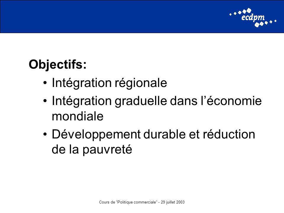 Cours de Politique commerciale - 29 juillet 2003 Objectifs: Intégration régionale Intégration graduelle dans léconomie mondiale Développement durable et réduction de la pauvreté