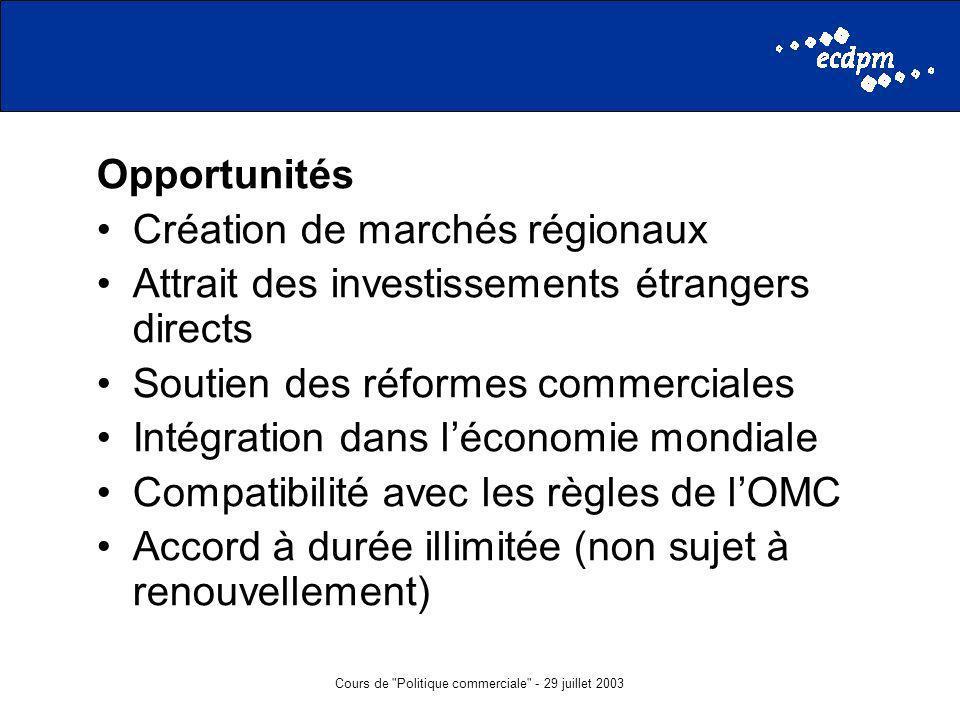 Cours de Politique commerciale - 29 juillet 2003 Opportunités Création de marchés régionaux Attrait des investissements étrangers directs Soutien des réformes commerciales Intégration dans léconomie mondiale Compatibilité avec les règles de lOMC Accord à durée illimitée (non sujet à renouvellement)