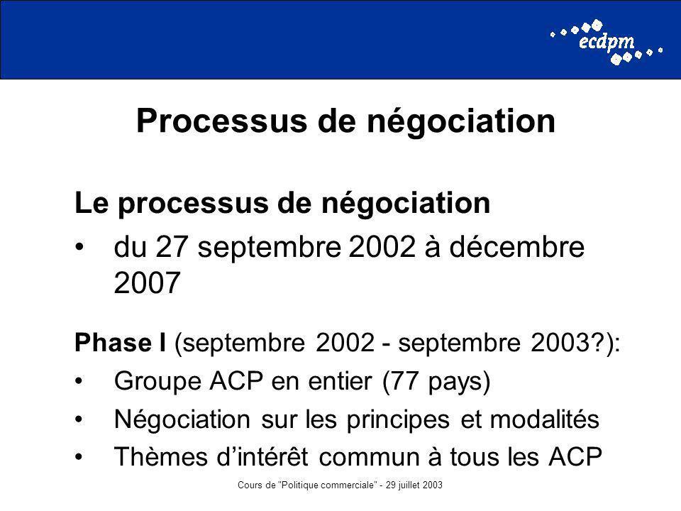 Cours de Politique commerciale - 29 juillet 2003 Processus de négociation Le processus de négociation du 27 septembre 2002 à décembre 2007 Phase I (septembre 2002 - septembre 2003?): Groupe ACP en entier (77 pays) Négociation sur les principes et modalités Thèmes dintérêt commun à tous les ACP