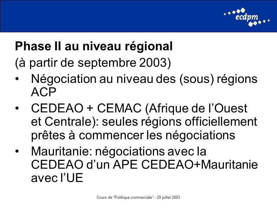 Cours de Politique commerciale - 29 juillet 2003 Phase II au niveau régional (à partir de septembre 2003) Négociation au niveau des (sous) régions ACP CEDEAO + CEMAC (Afrique de lOuest et Centrale): seules régions officiellement prêtes à commencer les négociations Mauritanie: négociations avec la CEDEAO dun APE CEDEAO+Mauritanie avec lUE