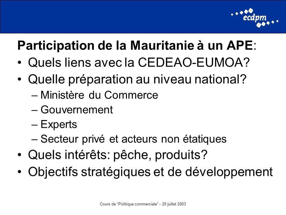 Cours de Politique commerciale - 29 juillet 2003 Participation de la Mauritanie à un APE: Quels liens avec la CEDEAO-EUMOA.