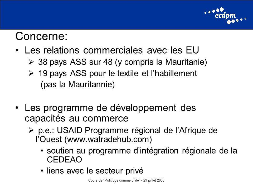 Cours de Politique commerciale - 29 juillet 2003 Concerne: Les relations commerciales avec les EU 38 pays ASS sur 48 (y compris la Mauritanie) 19 pays ASS pour le textile et lhabillement (pas la Mauritannie) Les programme de développement des capacités au commerce p.e.: USAID Programme régional de lAfrique de lOuest (www.watradehub.com) soutien au programme dintégration régionale de la CEDEAO liens avec le secteur privé
