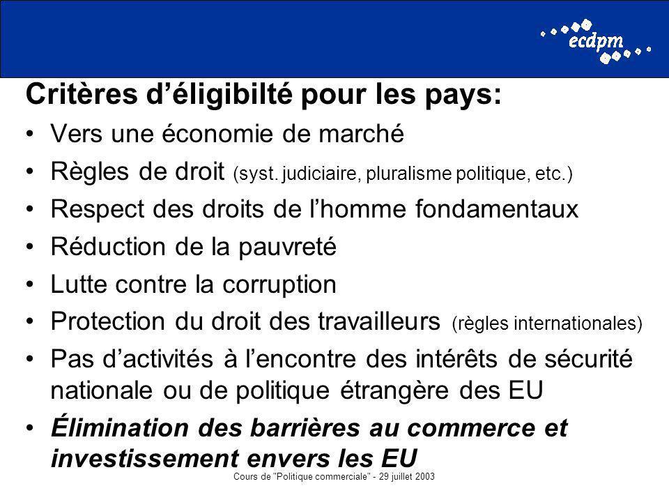 Cours de Politique commerciale - 29 juillet 2003 Critères déligibilté pour les pays: Vers une économie de marché Règles de droit (syst.