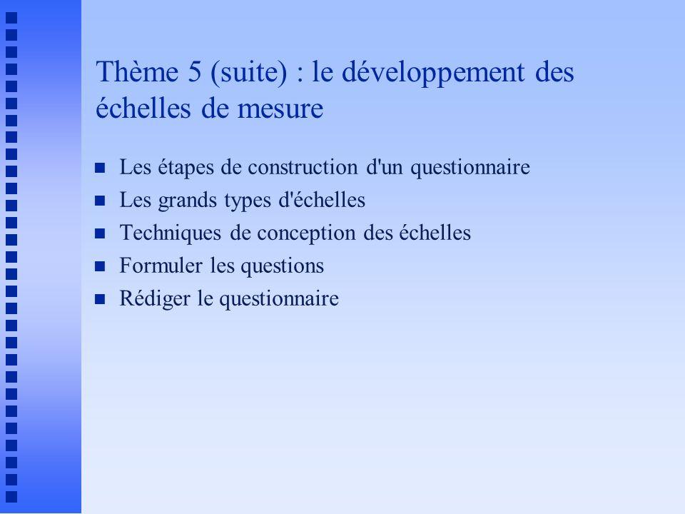 Thème 5 (suite) : le développement des échelles de mesure n Les étapes de construction d'un questionnaire n Les grands types d'échelles n Techniques d