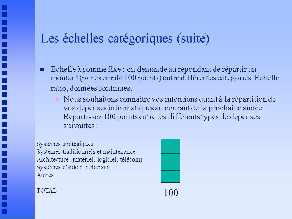 Les échelles catégoriques (suite) n Echelle à somme fixe : on demande au répondant de répartir un montant (par exemple 100 points) entre différentes c