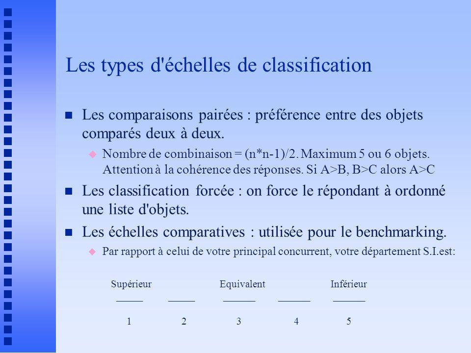 Les types d'échelles de classification n Les comparaisons pairées : préférence entre des objets comparés deux à deux. u Nombre de combinaison = (n*n-1
