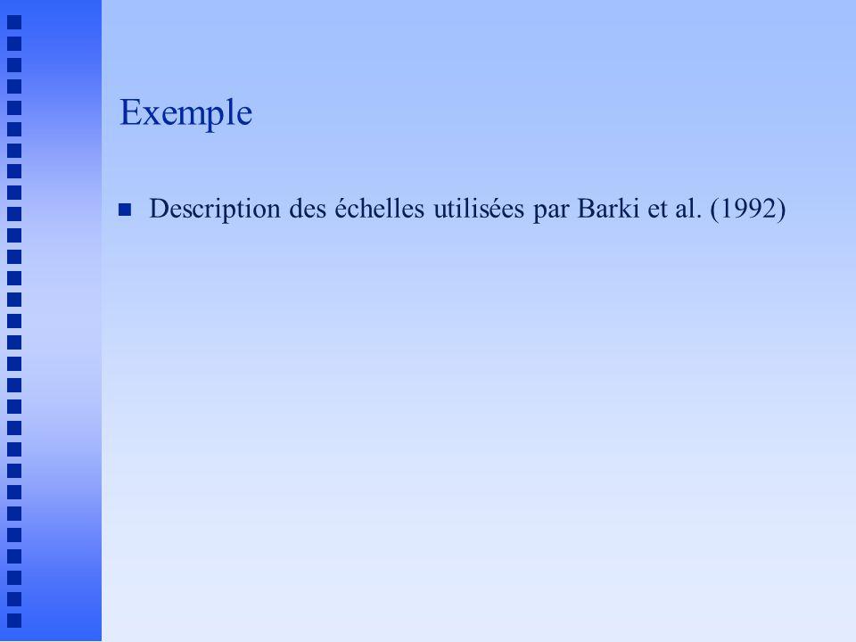 Exemple n Description des échelles utilisées par Barki et al. (1992)