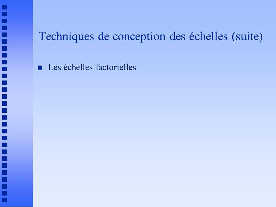 Techniques de conception des échelles (suite) n Les échelles factorielles