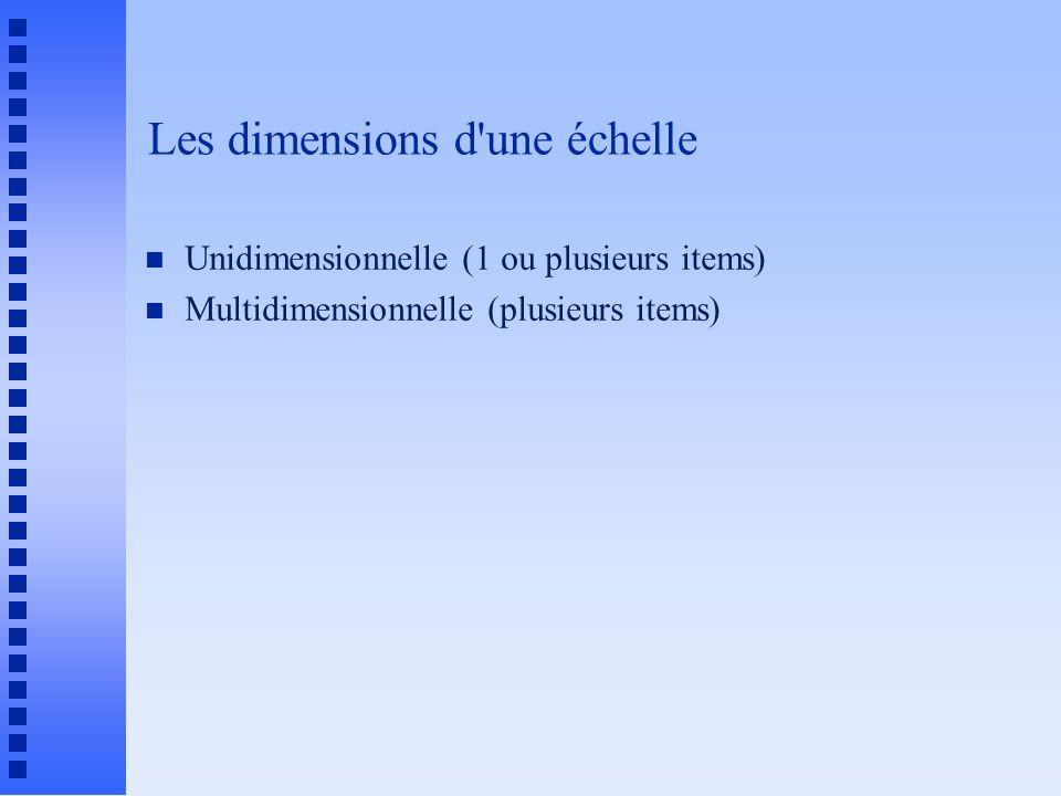 Les dimensions d'une échelle n Unidimensionnelle (1 ou plusieurs items) n Multidimensionnelle (plusieurs items)
