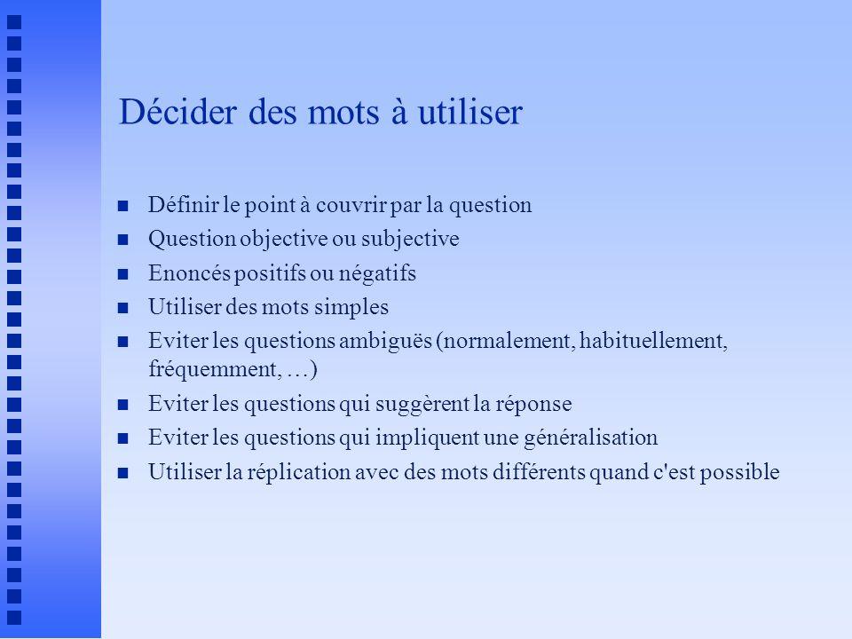 Décider des mots à utiliser n Définir le point à couvrir par la question n Question objective ou subjective n Enoncés positifs ou négatifs n Utiliser