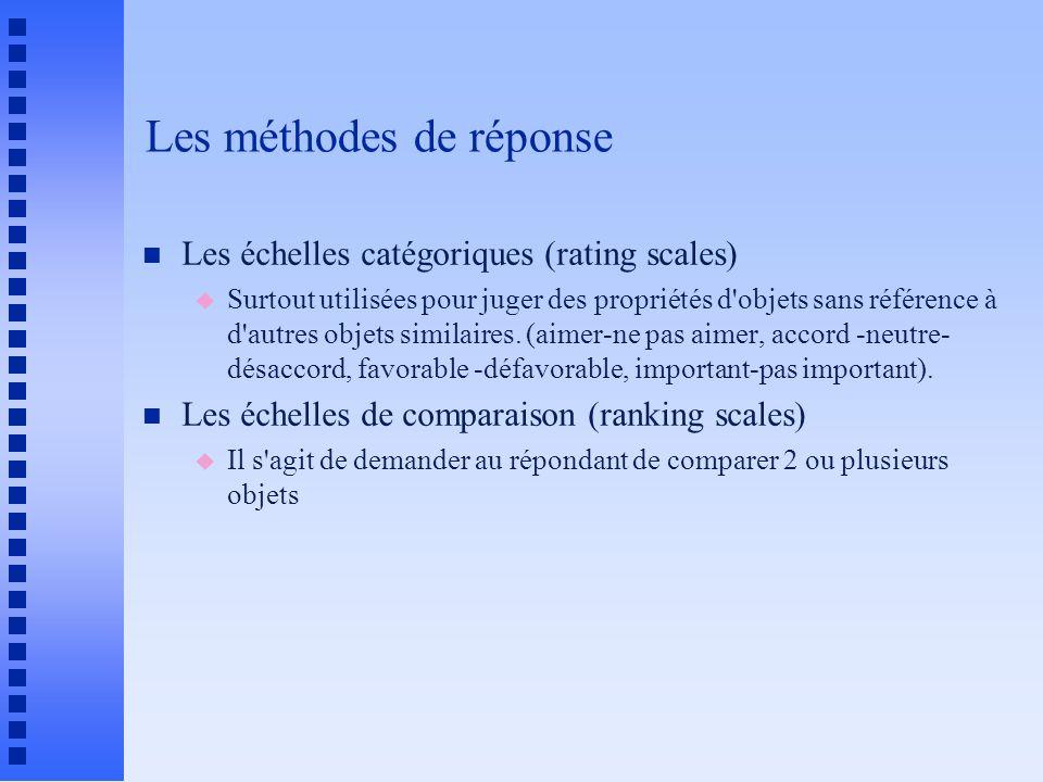 Les méthodes de réponse n Les échelles catégoriques (rating scales) u Surtout utilisées pour juger des propriétés d'objets sans référence à d'autres o