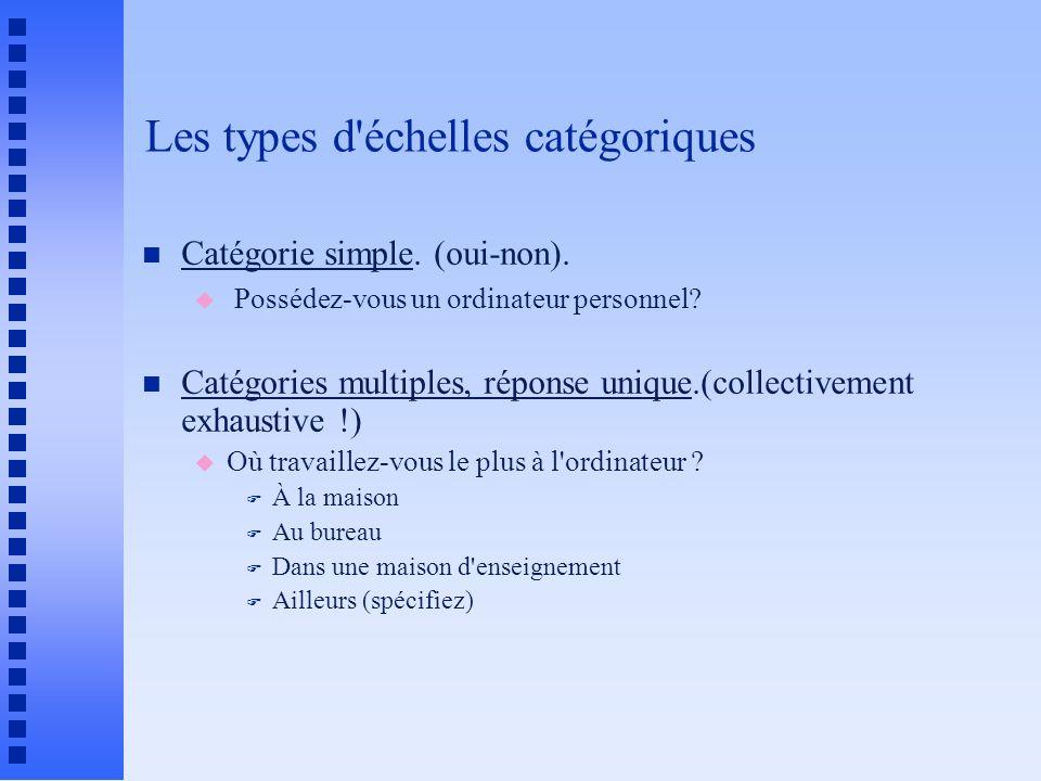 Les types d'échelles catégoriques n Catégorie simple. (oui-non). u Possédez-vous un ordinateur personnel? n Catégories multiples, réponse unique.(coll