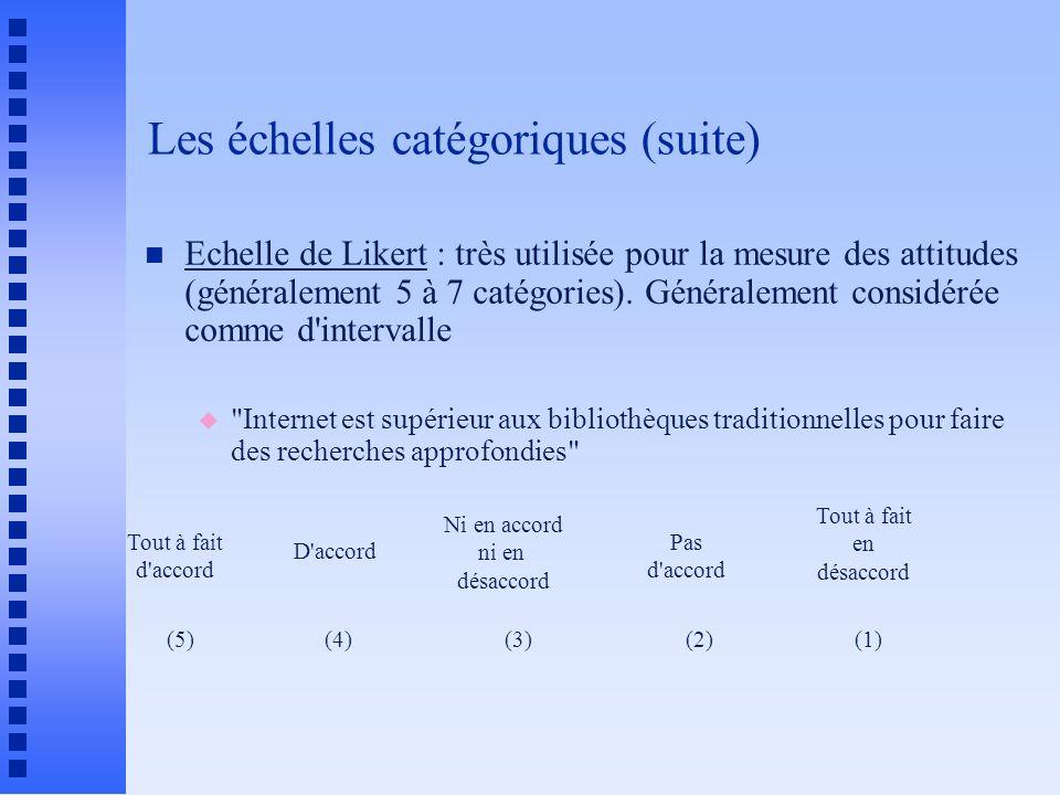Les échelles catégoriques (suite) n Echelle de Likert : très utilisée pour la mesure des attitudes (généralement 5 à 7 catégories). Généralement consi