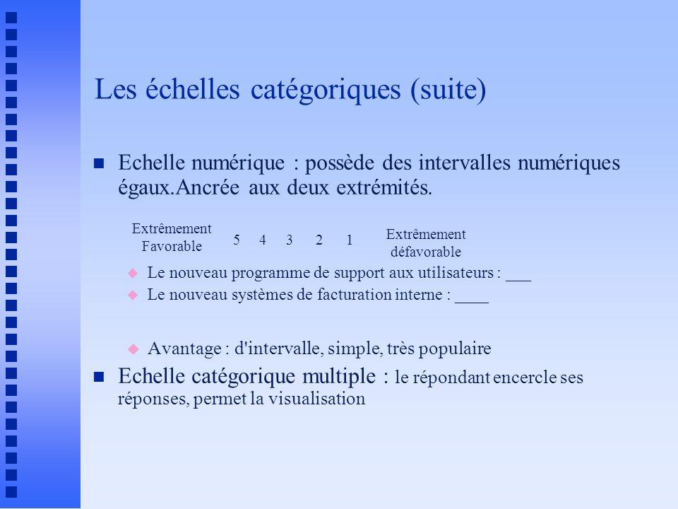 Les échelles catégoriques (suite) n Echelle numérique : possède des intervalles numériques égaux.Ancrée aux deux extrémités. u Le nouveau programme de