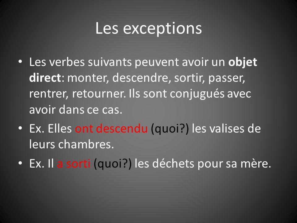 Les exceptions Les verbes suivants peuvent avoir un objet direct: monter, descendre, sortir, passer, rentrer, retourner. Ils sont conjugués avec avoir