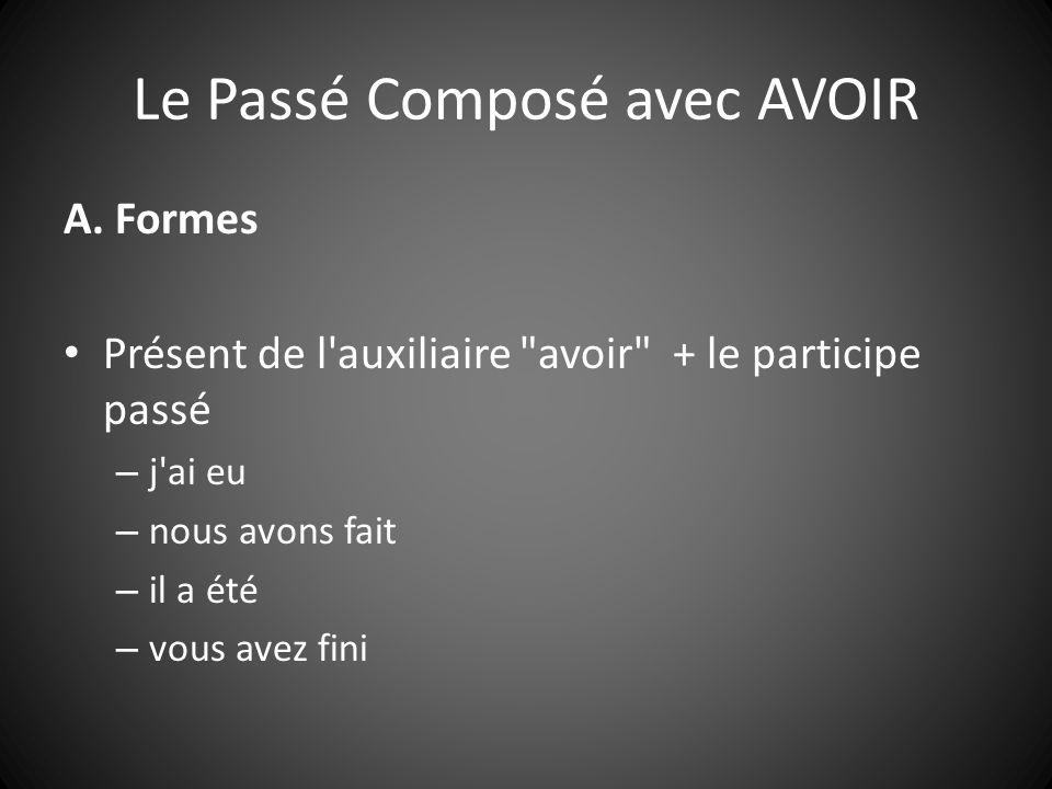 Le Passé Composé avec AVOIR A. Formes Présent de l'auxiliaire