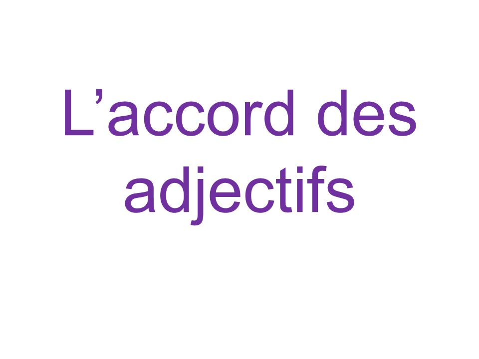 Laccord des adjectifs