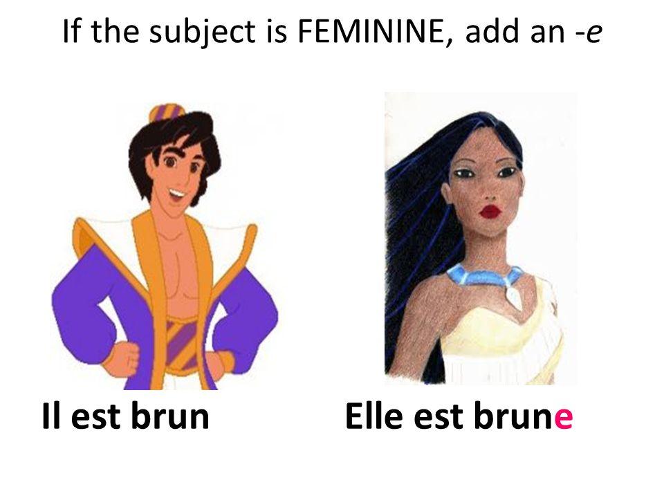 If the adjective already ends with -e, dont change anything! Il est jeune. Elle est jeune.