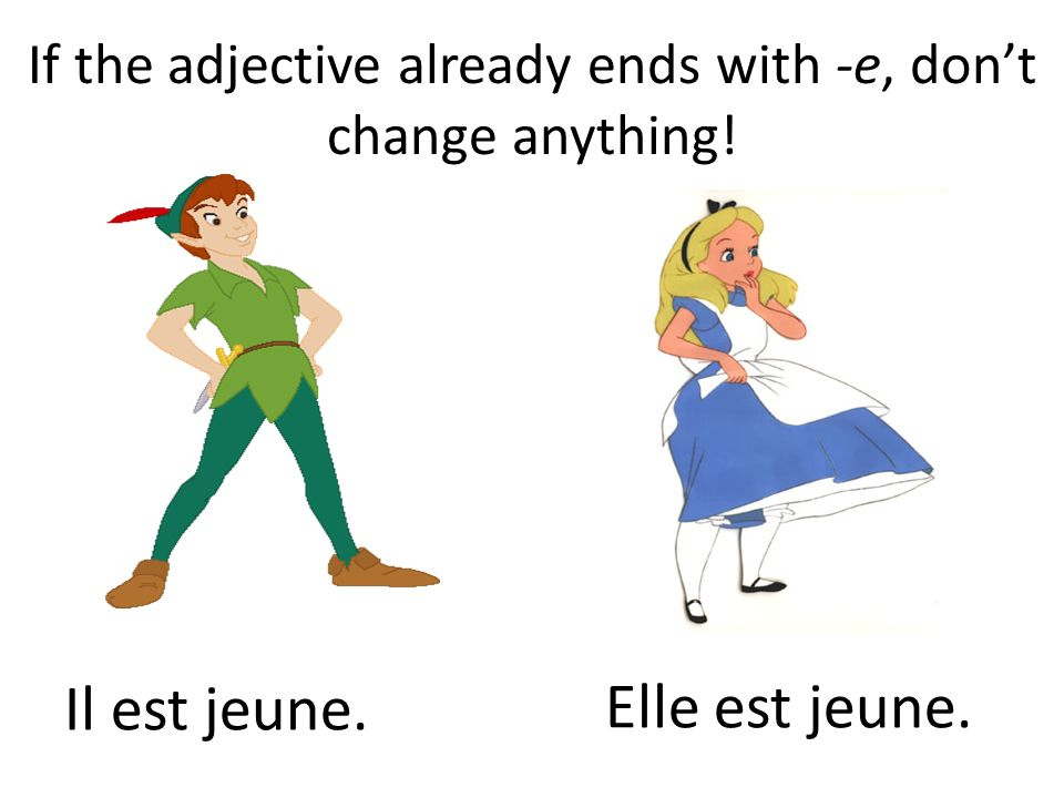 If the adjective already ends with -e, dont change anything! Il est jeune. Elle est jeune.