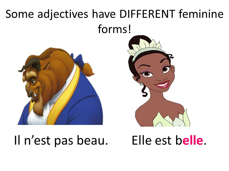 Some adjectives have DIFFERENT feminine forms! Il nest pas beau. Elle est belle.