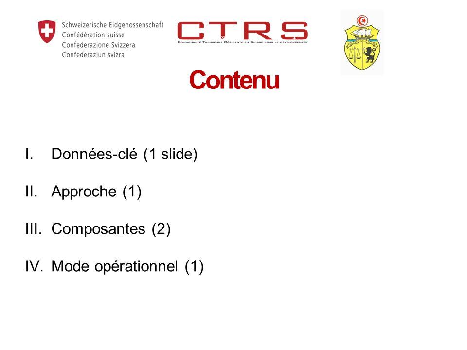 Contenu I.Données-clé (1 slide) II. Approche (1) III. Composantes (2) IV.Mode opérationnel (1)