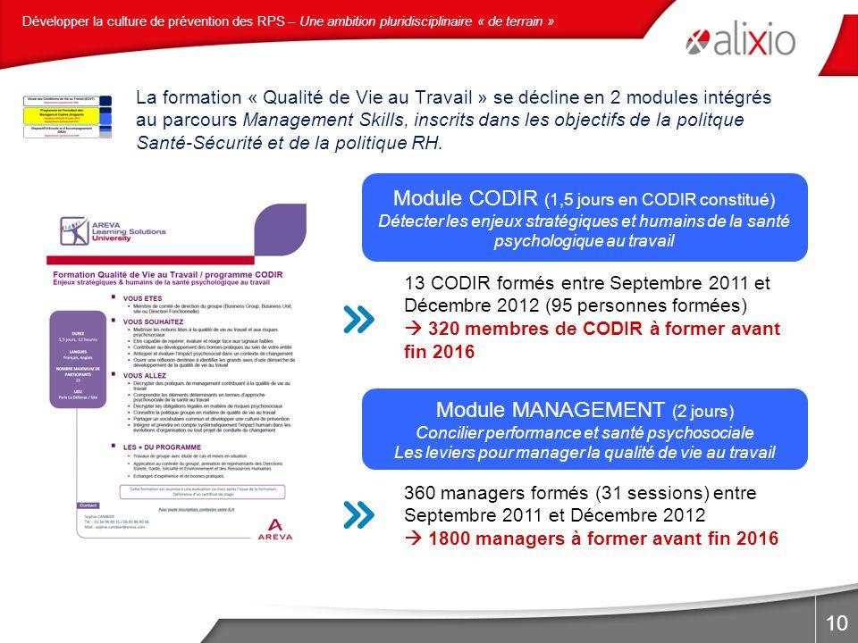 10 La formation « Qualité de Vie au Travail » se décline en 2 modules intégrés au parcours Management Skills, inscrits dans les objectifs de la politq