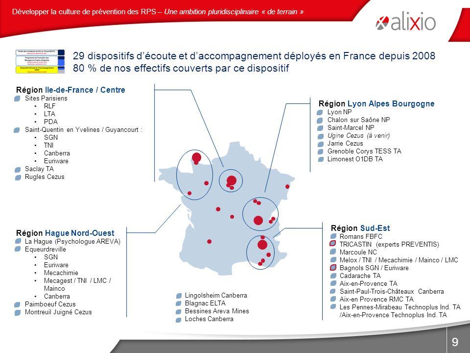 9 Région Ile-de-France / Centre Sites Parisiens RLF LTA PDA Saint-Quentin en Yvelines / Guyancourt : SGN TNI Canberra Euriware Saclay TA Rugles Cezus