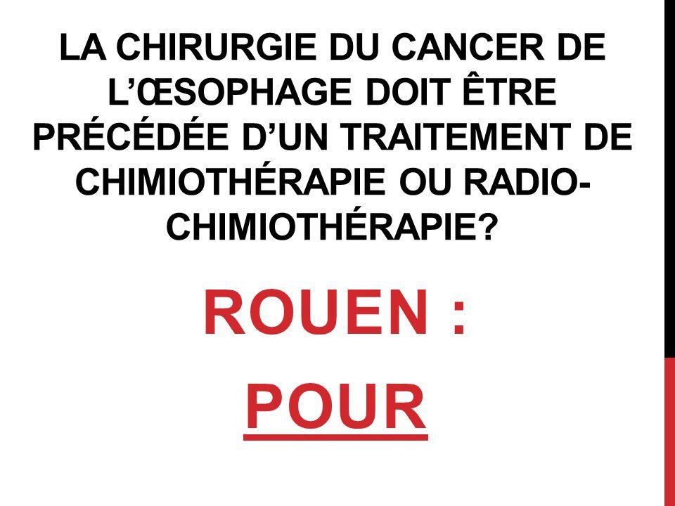 PLAN A) EPIDEMIOLOGIE/RECOMMANDATIONS B) ARGUMENTS EN FAVEUR DU TRAITEMENT NEO- ADJUVANT 1- Chimiothérapie (CT) 2- Radio-Chimiothérapie (RCT) C) CHIMIOTHERAPIE vs RADIO-CHIMIOTHERAPIE D) EFFETS SECONDAIRES/QUALITE DE VIE E) CONCLUSION