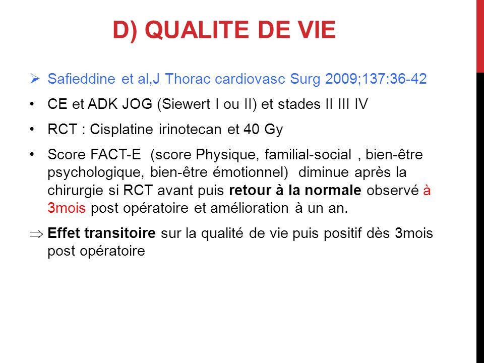 Safieddine et al,J Thorac cardiovasc Surg 2009;137:36-42 CE et ADK JOG (Siewert I ou II) et stades II III IV RCT : Cisplatine irinotecan et 40 Gy Scor
