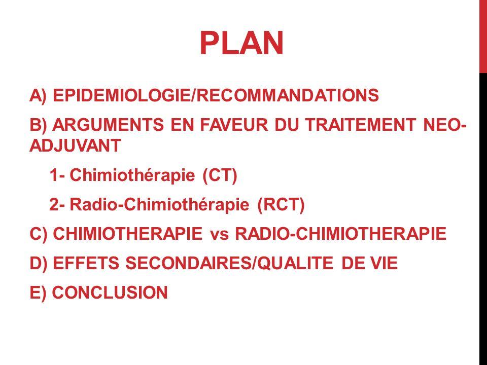 PLAN A) EPIDEMIOLOGIE/RECOMMANDATIONS B) ARGUMENTS EN FAVEUR DU TRAITEMENT NEO- ADJUVANT 1- Chimiothérapie (CT) 2- Radio-Chimiothérapie (RCT) C) CHIMI