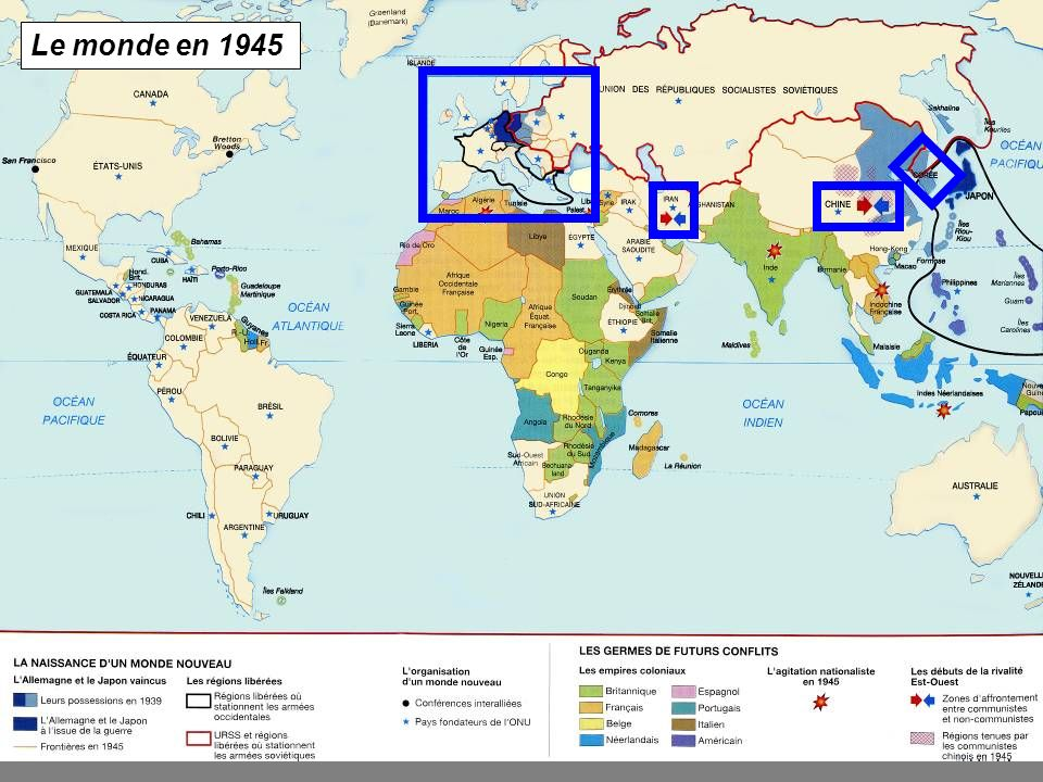 A2 Sud reste sous contrôle des français 1946, opération de reconquête par Haïphong Vietminh aide URSS, 1947 France soutien des E.U.
