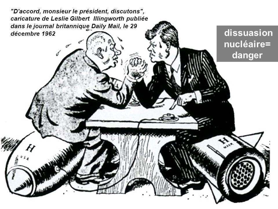 D accord, monsieur le président, discutons , caricature de Leslie Gilbert Illingworth publiée dans le journal britannique Daily Mail, le 29 décembre 1962 C2 dissuasion nucléaire= danger