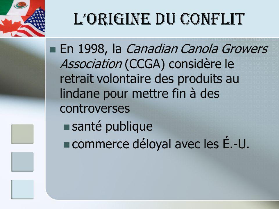 LORIGINE DU CONFLIT En 1998, la Canadian Canola Growers Association (CCGA) considère le retrait volontaire des produits au lindane pour mettre fin à d