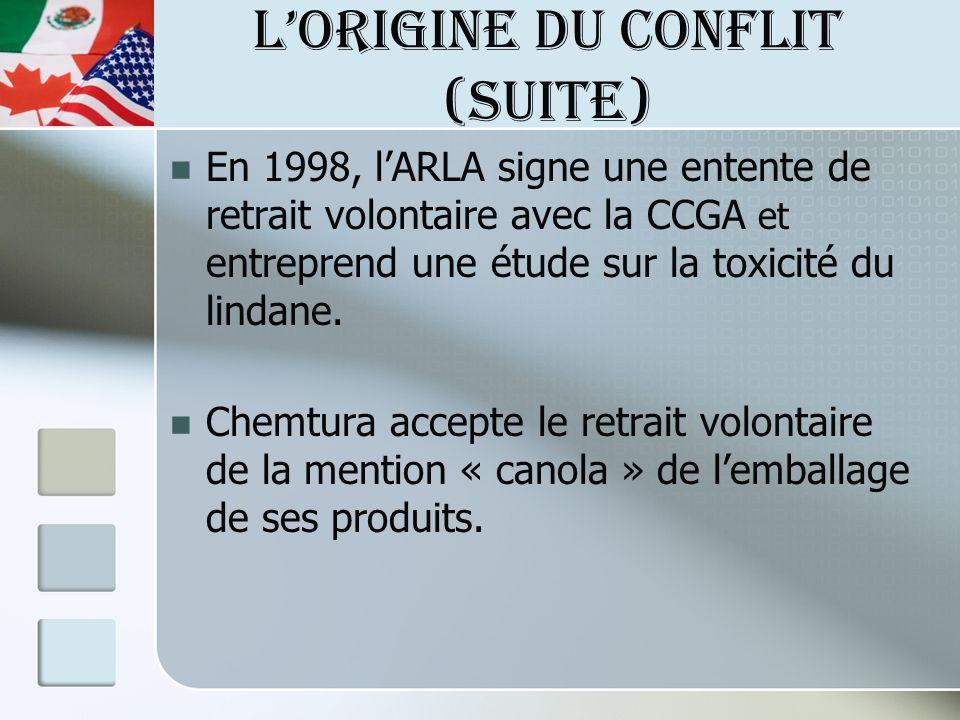LORIGINE DU CONFLIT (suite) En 1998, lARLA signe une entente de retrait volontaire avec la CCGA et entreprend une étude sur la toxicité du lindane.