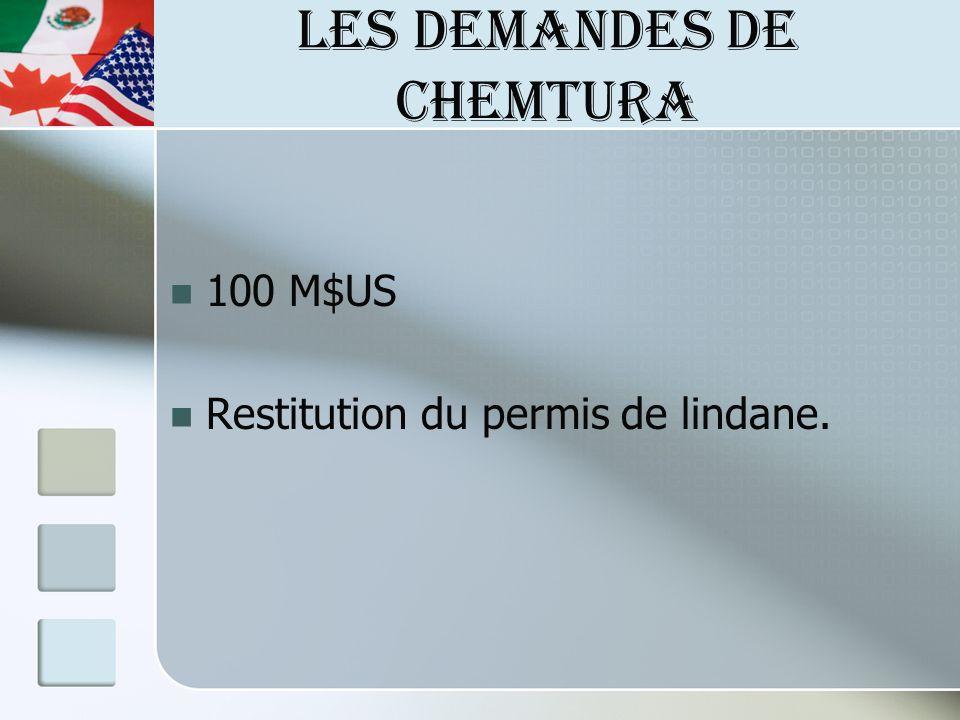 LES DEMANDES DE CHEMTURA 100 M$US Restitution du permis de lindane.