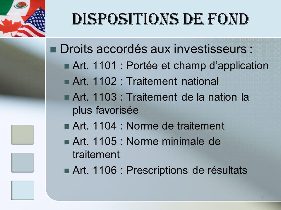 DISPOSITIONS DE FOND Art.