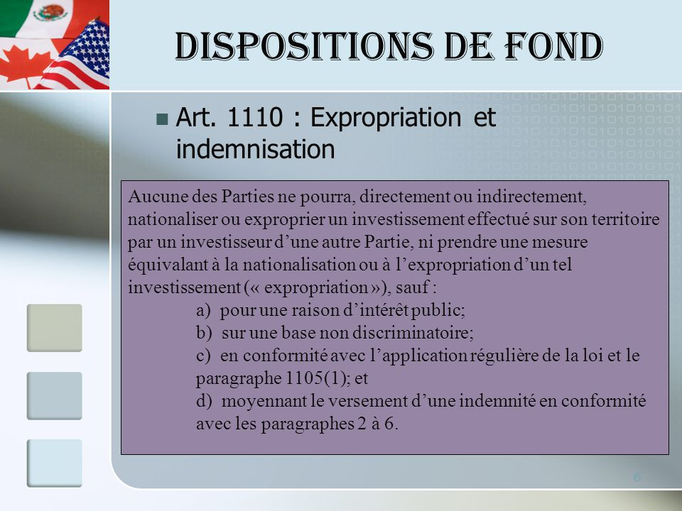 DISPOSITIONS DE FOND Art.