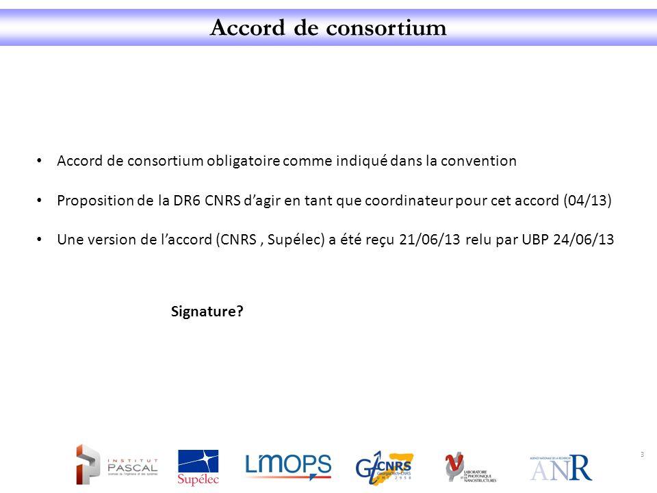 Accord de consortium 3 Accord de consortium obligatoire comme indiqué dans la convention Proposition de la DR6 CNRS dagir en tant que coordinateur pou