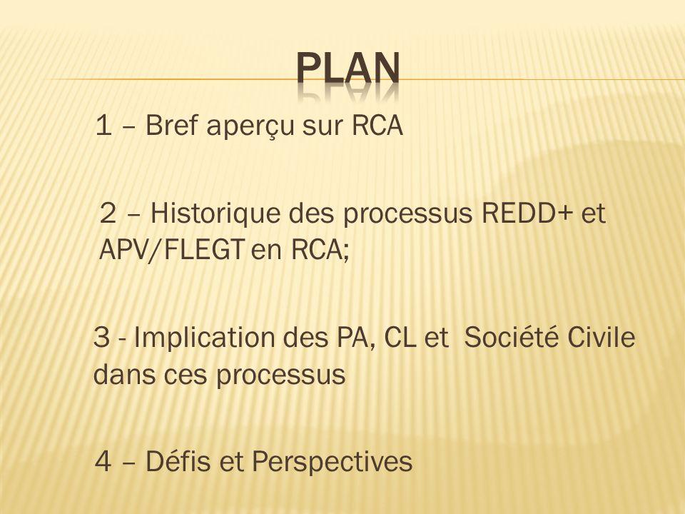1 – Bref aperçu sur RCA 2 – Historique des processus REDD+ et APV/FLEGT en RCA; 3 - Implication des PA, CL et Société Civile dans ces processus 4 – Défis et Perspectives