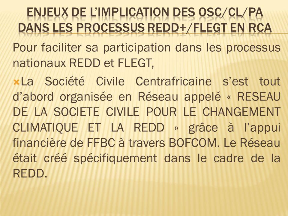 Pour faciliter sa participation dans les processus nationaux REDD et FLEGT, La Société Civile Centrafricaine sest tout dabord organisée en Réseau appelé « RESEAU DE LA SOCIETE CIVILE POUR LE CHANGEMENT CLIMATIQUE ET LA REDD » grâce à lappui financière de FFBC à travers BOFCOM.