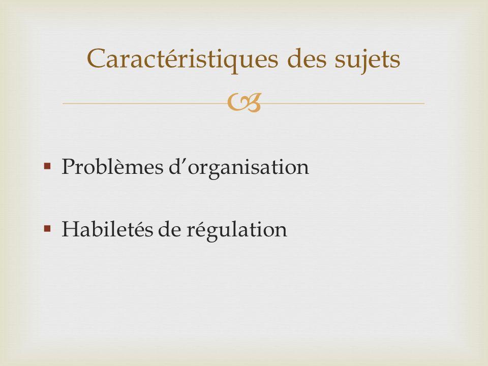 Problèmes dorganisation Habiletés de régulation Caractéristiques des sujets