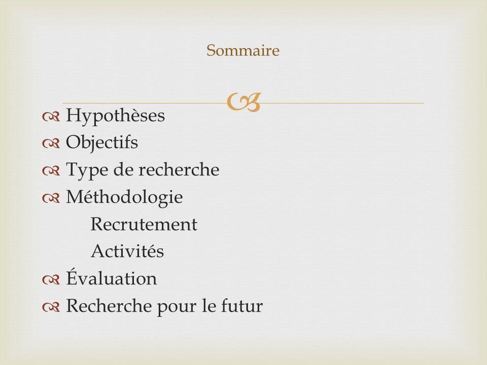 Hypothèses Objectifs Type de recherche Méthodologie Recrutement Activités Évaluation Recherche pour le futur Sommaire