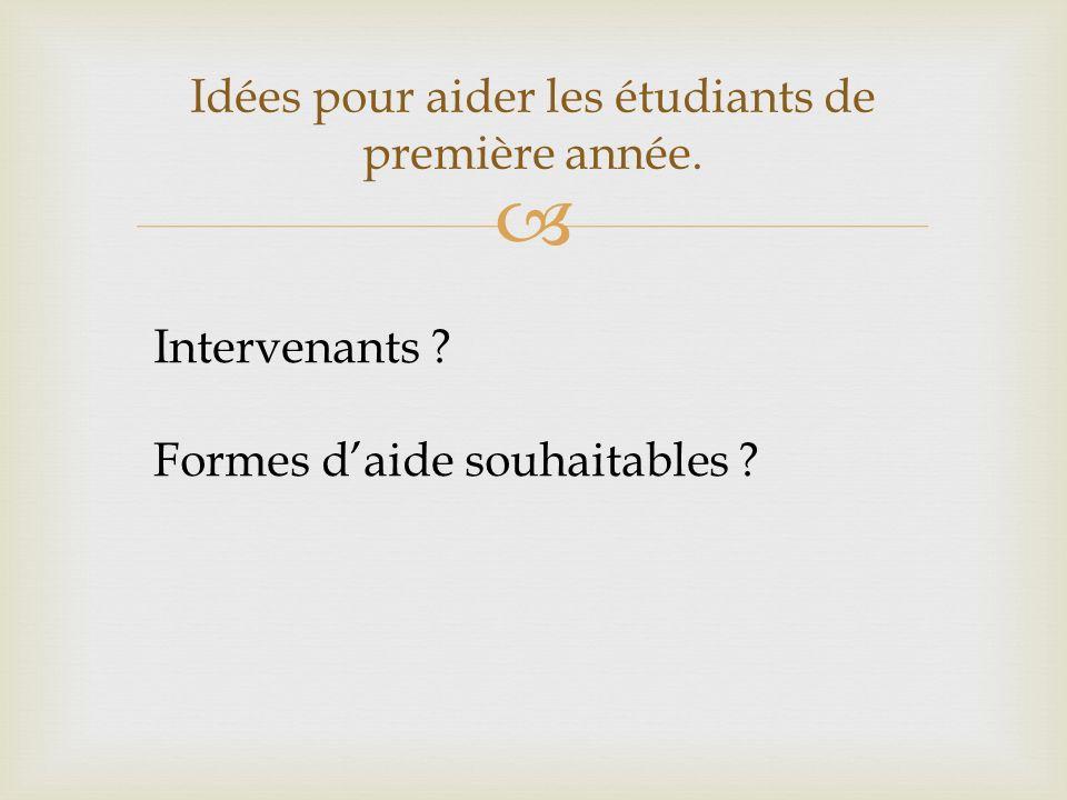 Idées pour aider les étudiants de première année. Intervenants Formes daide souhaitables